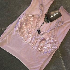 Mauve Lace Trim Bodysuit